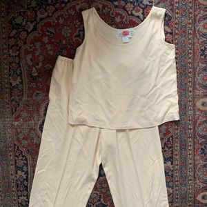 Vintage butter yellow silk pant set